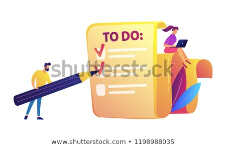 Businessman filling to do list with pencil and woman with laptop vector illustration. Stock photo © RAStudio