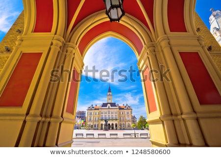 Freedom square in Novi Sad arches and architecture view Stock photo © xbrchx