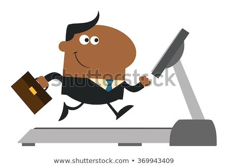 Afro-amerikaanse zakenman aktetas lopen tredmolen Stockfoto © hittoon