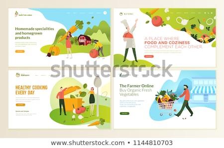 fitness · icone · arancione · alimentare · corpo · mela - foto d'archivio © netkov1