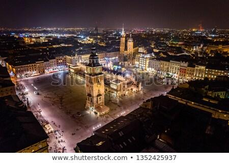 Polen · krakow · markt · vierkante · nacht · oude - stockfoto © vlad_star