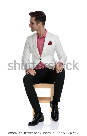 seated elegant man is interested in what you are saying Stock photo © feedough
