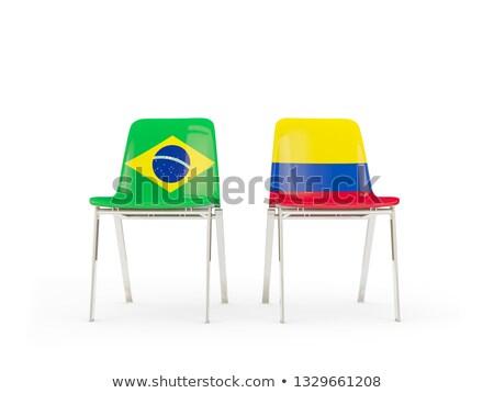 Twee stoelen vlaggen Brazilië Colombia geïsoleerd Stockfoto © MikhailMishchenko