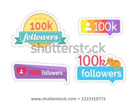 Follow and Followers Kitty on Banner Set Vector Stock photo © robuart
