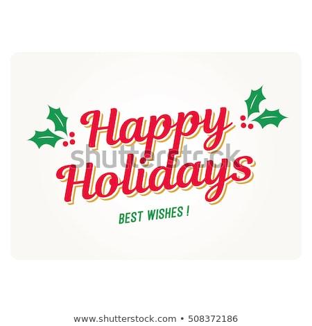 vidám · karácsony · tipográfia · felirat · ünnep · kívánság - stock fotó © robuart