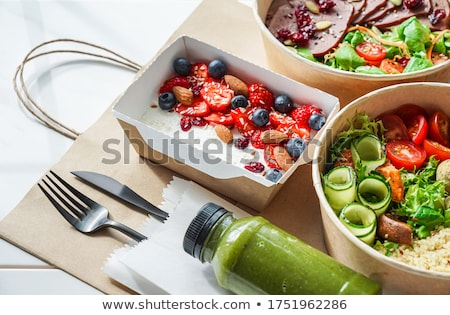 Healthy Salad With Fork On Desk Stock photo © AndreyPopov
