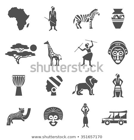 pajzs · állatok · szett · szimbólum · oroszlán · felirat - stock fotó © netkov1