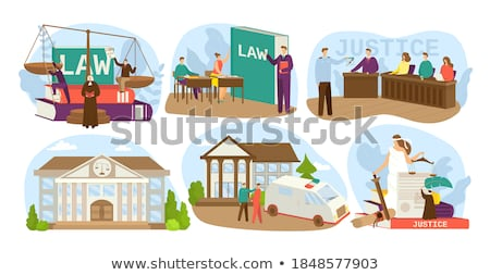 Courtroom Vector. Old Judge In Courtroom. Court House. Illustration Stock photo © pikepicture