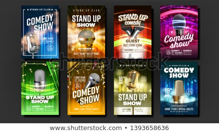 Color vintage Stand up comedy show poster Stock fotó © netkov1