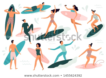 Woman Swimming on Surfboard Isolated in Sea Waters Stock photo © robuart