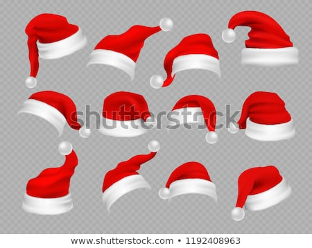 Foto d'archivio: Set of Santa Hat with Furry Balls Vector Isolated