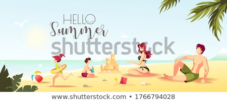 vector summer sea beach sandcastle banner Photo stock © VetraKori
