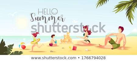 Foto d'archivio: vector summer sea beach sandcastle banner