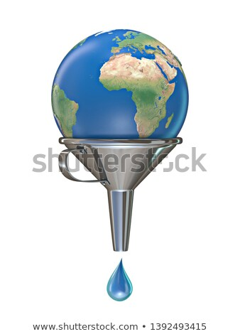Planet earth in funnel with one water drop 3D Stock photo © djmilic