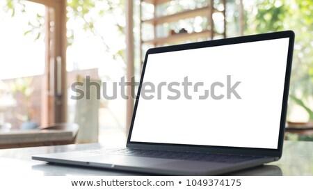 ноутбука белый экране мрамор таблице современных Сток-фото © dashapetrenko