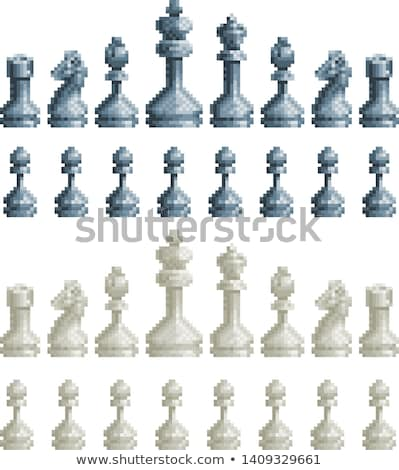 Chess Pieces Set 8 Bit Pixel Video Game Art Icons Stock photo © Krisdog