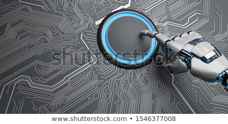 Robot Hand Start Button Microchip AI Stock photo © limbi007