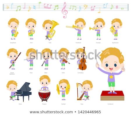 Blond włosy muzyki zestaw chłopca Zdjęcia stock © toyotoyo
