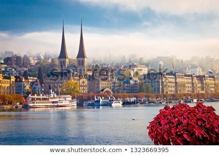 идиллический города озеро мнение ландшафты Сток-фото © xbrchx
