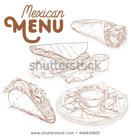 Mexicaans eten menu eps 10 cafe Stockfoto © netkov1