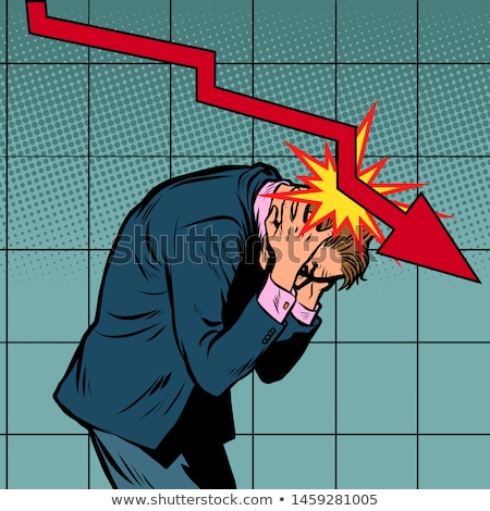 Businessman panic, the fall of shares and income, red graph downwards Stock photo © studiostoks