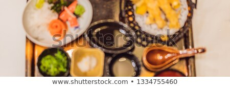 Stock photo: BLURED PHOTO, BACKGROUND Japanese bento set. Food at a Japanese restaurant BANNER, LONG FORMAT