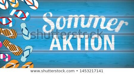 Sommer Aktion Flip-Flops Blue Wood Header Stock photo © limbi007