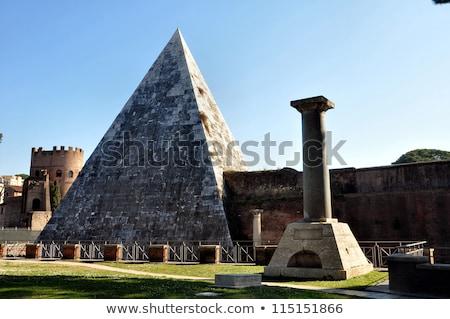 piramide · Rome · zonsondergang · hemel · gebouw · landschap - stockfoto © borisb17