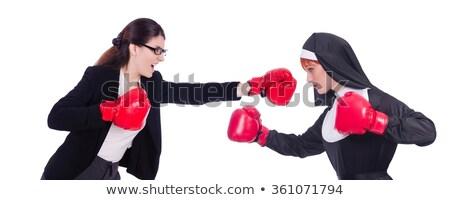 Suora guantoni da boxe isolato bianco donna ragazza Foto d'archivio © Elnur
