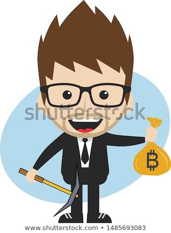 Bitcoin valuta cartoon gentleman mannelijke man Stockfoto © vector1st