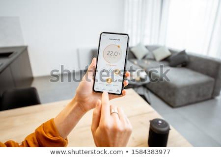 homme · puce · maison · demande · téléphone · portable - photo stock © andreypopov