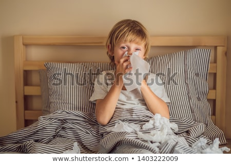 病気 少年 鼻 子 発熱 病気 ストックフォト © galitskaya