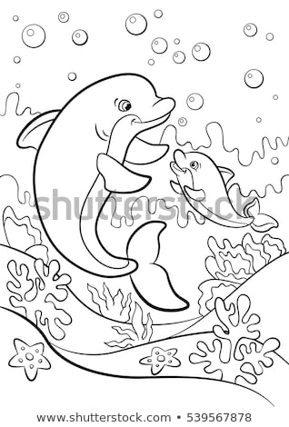 tropical fish cartoon coloring page Stock photo © izakowski