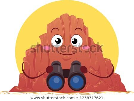 Mascote desfiladeiro binóculo ilustração sol atrás Foto stock © lenm