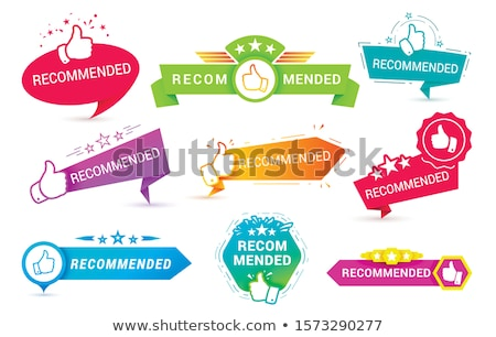 Recommended banner with thumbs up. Paper ribbon Vector Stock photo © Andrei_