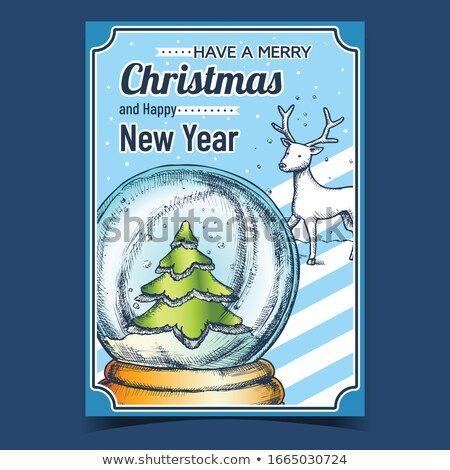 Stock photo: Snow Globe With Deer Souvenir Hand Drawn Color Vector