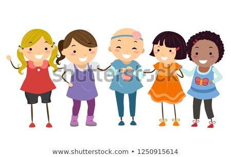 Stickman Kids Girls Friends Alopecia Illustration Stock photo © lenm
