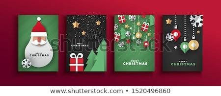 vidám · karácsony · üdvözlőlap · szett · mikulás · apa - stock fotó © cienpies