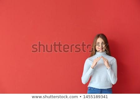 Mulher linguagem gestual comunicar cinza assinar professor Foto stock © AndreyPopov