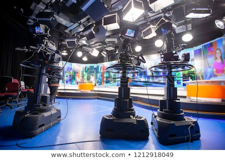 TV NEWS studio with camera and lights Stock photo © galitskaya