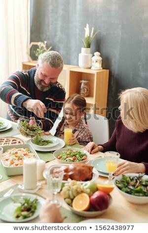 Mutlu olgun adam salata çok güzel torun Stok fotoğraf © pressmaster