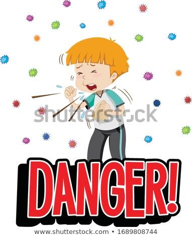 Koronawirus chorych chłopca kaszel ilustracja człowiek Zdjęcia stock © bluering