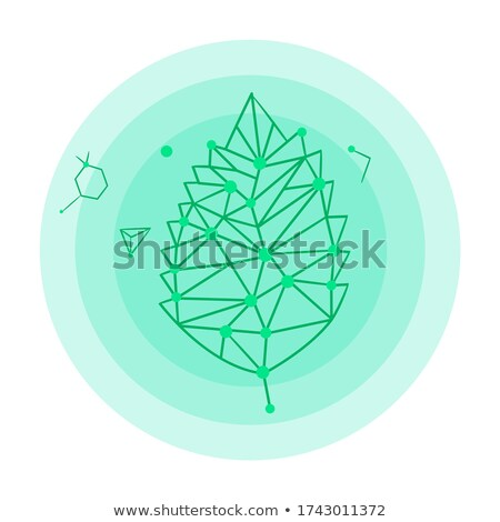Icon of leaf hologram, logo, green leaf elements, dna connection, isolated at white background Stock photo © robuart