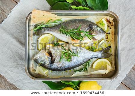Mediterrán fűszer rozmaring citrom tengeri só fából készült Stock fotó © elly_l