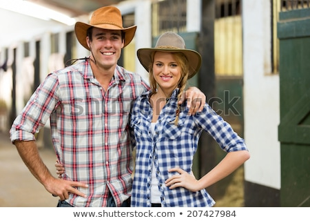 jóképű · férfi · kockás · póló · cowboykalap · jóképű · fiatalember - stock fotó © lunamarina