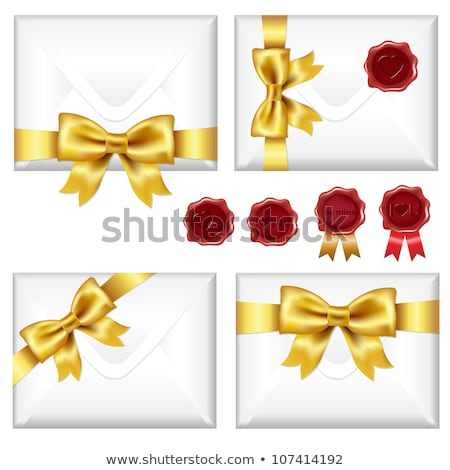 Set Of Envelopes With Golden Bow And Wax Seals Stock photo © adamson