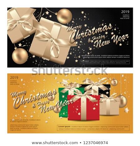 Foto stock: Vetor · feliz · ano · novo · projeto · brilhante · magia · caixa · de · presente