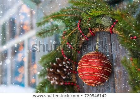 christmas · krans · houten · deur · handgemaakt · winter - stockfoto © ivonnewierink