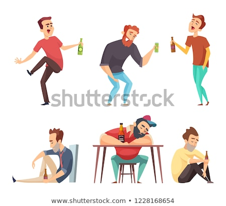 The young man drinks vodka from a bottle. Isolated Stock photo © acidgrey
