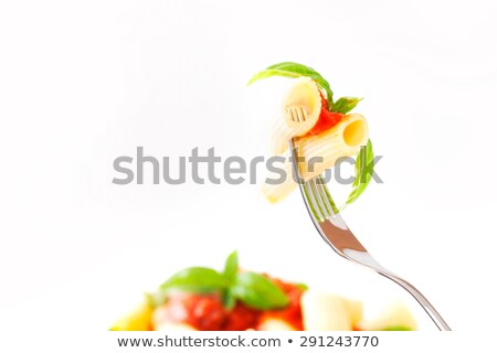 Tomato On A Fork On White Photo stock © mythja